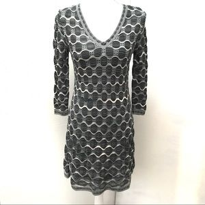 EUC M Missoni Print V-Neck Long Sleeve Knit Dress